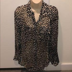 Silk Leopard Print Equipment Blouse sz XS
